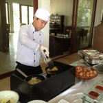 Banh xeo (pancake) station on breakfast buffet