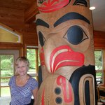 The dining room, beautiful Haida art.