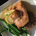 Pan seared Alaskan King Salmon with red & white quinoa, green beans and beurre blanc.