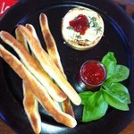 Camembert with fresh bread sticks and home made chilli jam
