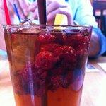 ice tea with frozen raspberries