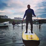 Upright and ready to paddle.