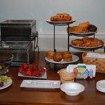 The morning breakfast buffet