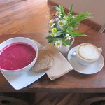 Beetroot and Coconut Soup and a Vanilla Soya Milk cappuccino...