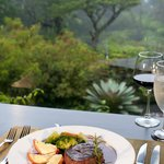 A meal with a cloud forest view