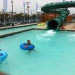 Tubing down the slide