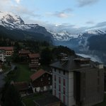 The view of Lauterbrunnen valley in the background, Wengen in the foreground
