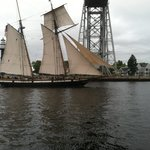 Tall ship coming through the canal.