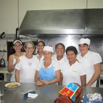 With the kitchen staff