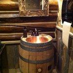 Stylish ladies bathroom in the saloon