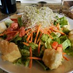 Crispy Tofu Salad - lettuce, tomato, carrots topped with tempura fried tofu and peanut dressing