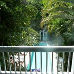 The Tree Top Two view of the pool and gargens