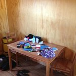 Table and chairs in camper cabin