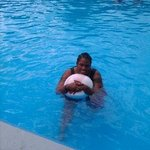 Me hanging in the pool