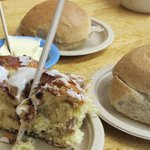 Scrumptious cinnamon roll and sour dough bread