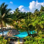 Overlooking the pool and grounds with Caribbean Sea in the backgroun