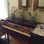 the piano in the dining room