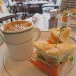 1/2 salmon club sandwich with french onion soup
