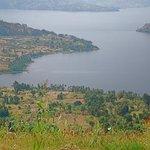 wildflowers at Virunga Lodge and view from lodge of Lake Bulera