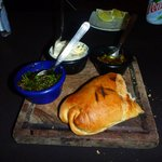 Grilled bread, chimichurri, garlic butter and chilis