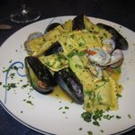 mussels and clams with pasta....delicious!!