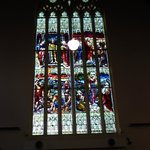 The stained glass windows were glorious