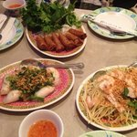 Spring roll, Dumpling and Green Papaya salad