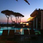 The pool area at dusk