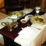 Room service dinner spread for two.
