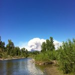 View of the river.  The white was the fire in up in Wolf Creek Pass