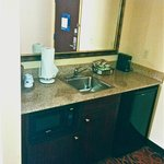 Refrigerator/sink area by entrance door