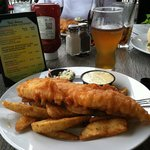 Fish and chips and a cold beer!