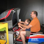 playing in the arcade