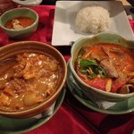 Chicken masaman and beef tom yam soup