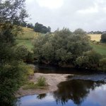 The view from Kerne Bridge, just outside the Inn, downstream