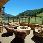 Common area deck with seating and gas firepit