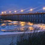 The Kure Beach Pier at night, within EASY walking distance, less than a block