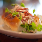 Lobster roll with Pea Tendrils