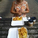 Eleanor about ready to enjoy our Scampi and chips