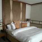 very large bed leather headboard