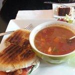 Turkey club panini, lentil soup and pecan cake