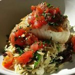 $29.00 Sea Bass on Risotto....looks pretty but takes icky! My granddaughter gagged when she trie