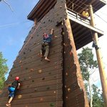 rock wall and zip line fun