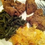 fried chicken livers, hash brown casserole and country green beans