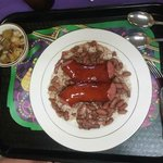 Andouille sausage over red beans and rice with fresh okra!