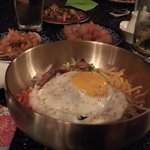 Beef bibimbap, 2 different kimchi's in back