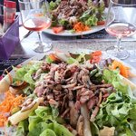 Les Grandes  Salades at restaurant beside Chateau Beynac - delicieux