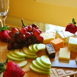 Order up a bottle of Virginia Wine, our specialty cheese and fruit tray and BAM! You're relaxed