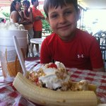 My sons first banana split ever