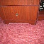 layer of dust around furniture